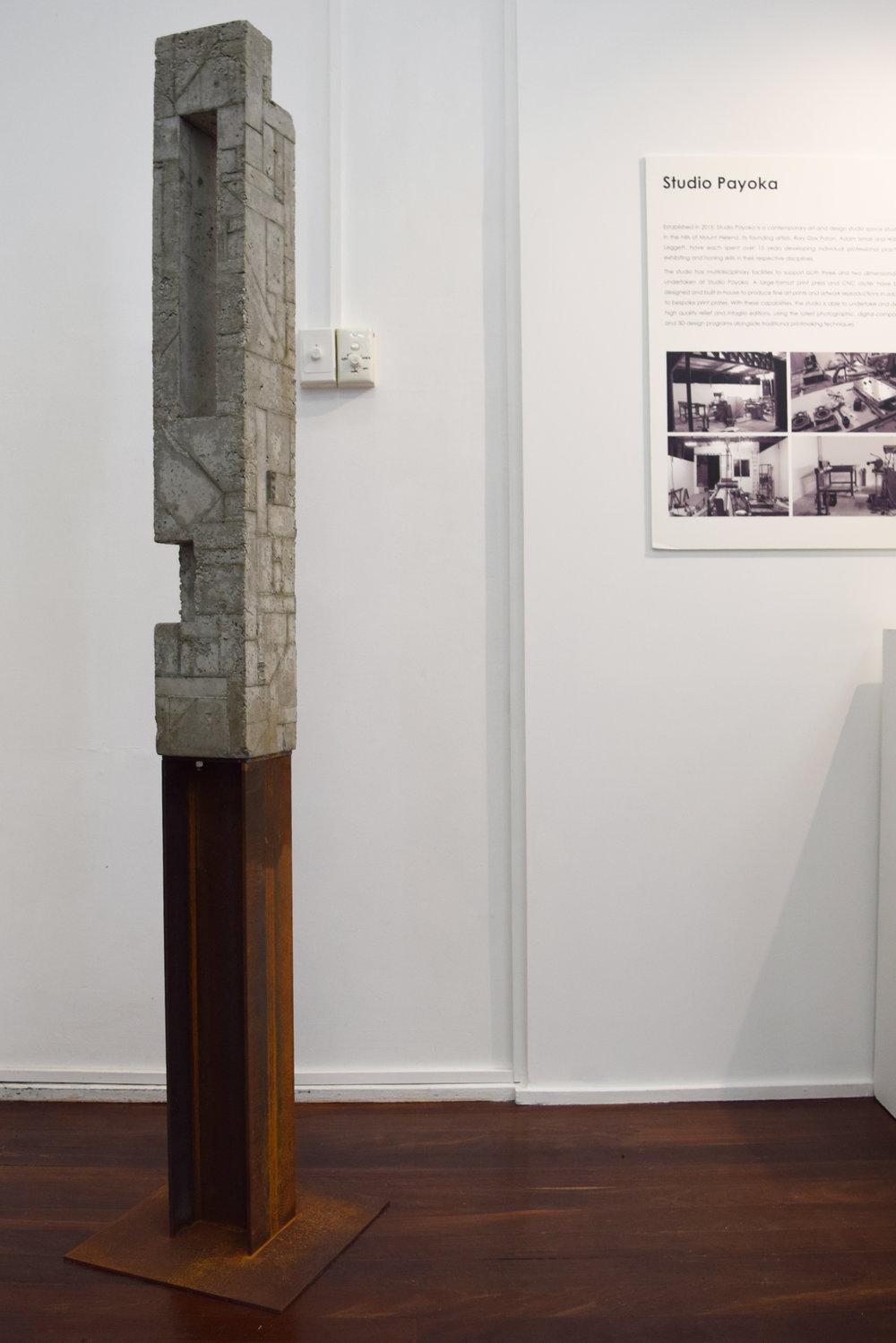 1. William Leggett,  Monument 1 , 2018, concrete and steel, 40 x 40 x 182 cm $1,350