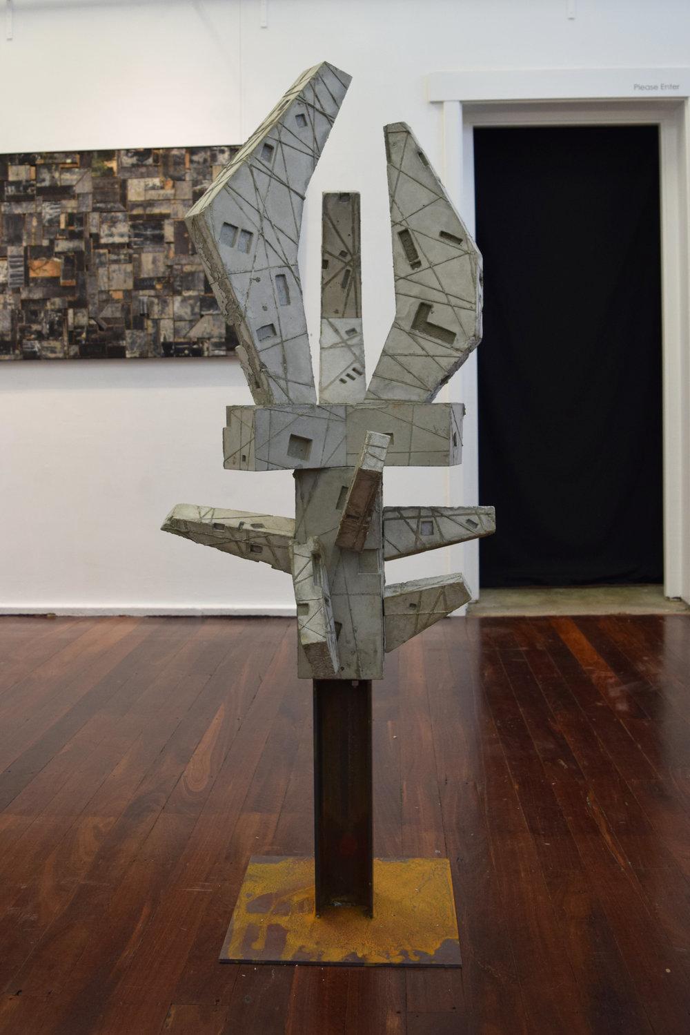 10. William Leggett,  Monument 5,  2018, concrete and steel, 63 x 60 x 144 cm $1,200