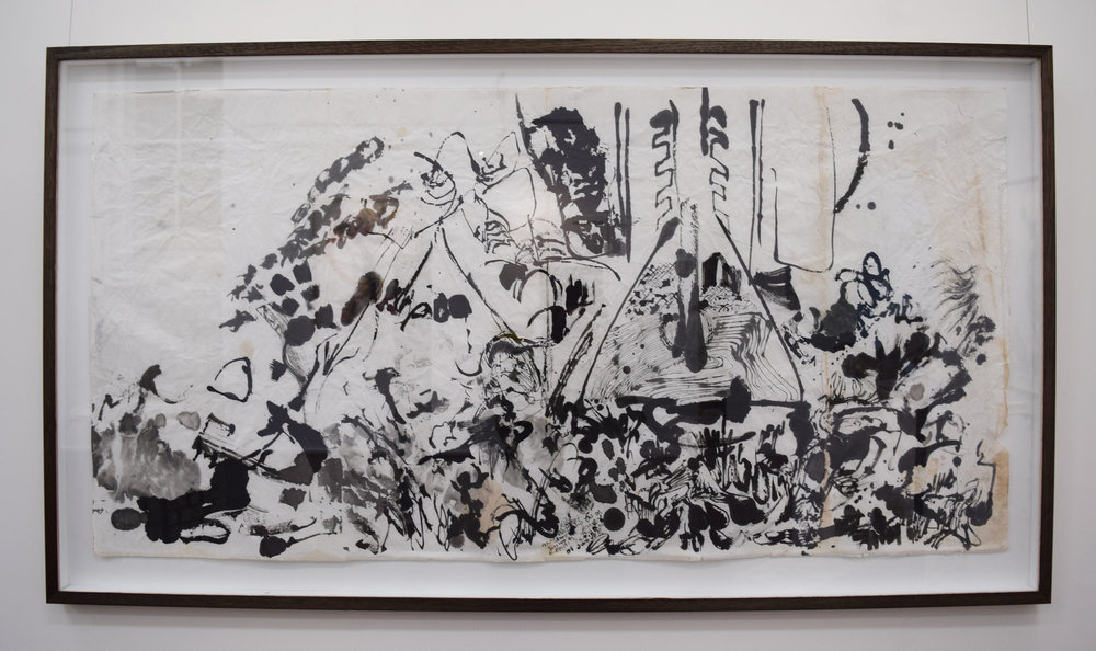 19. Rory Dax Paton,  Wrecked, a well,  2014, ink on watercolour on Xuan paper, 78 x 145 cm $2,600