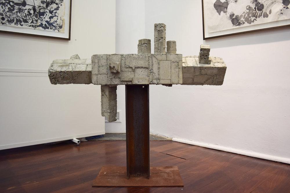 20. William Leggett,  Monument #2 , 2018, concrete abd steel, 37 x 23 x 201 cm $1,200