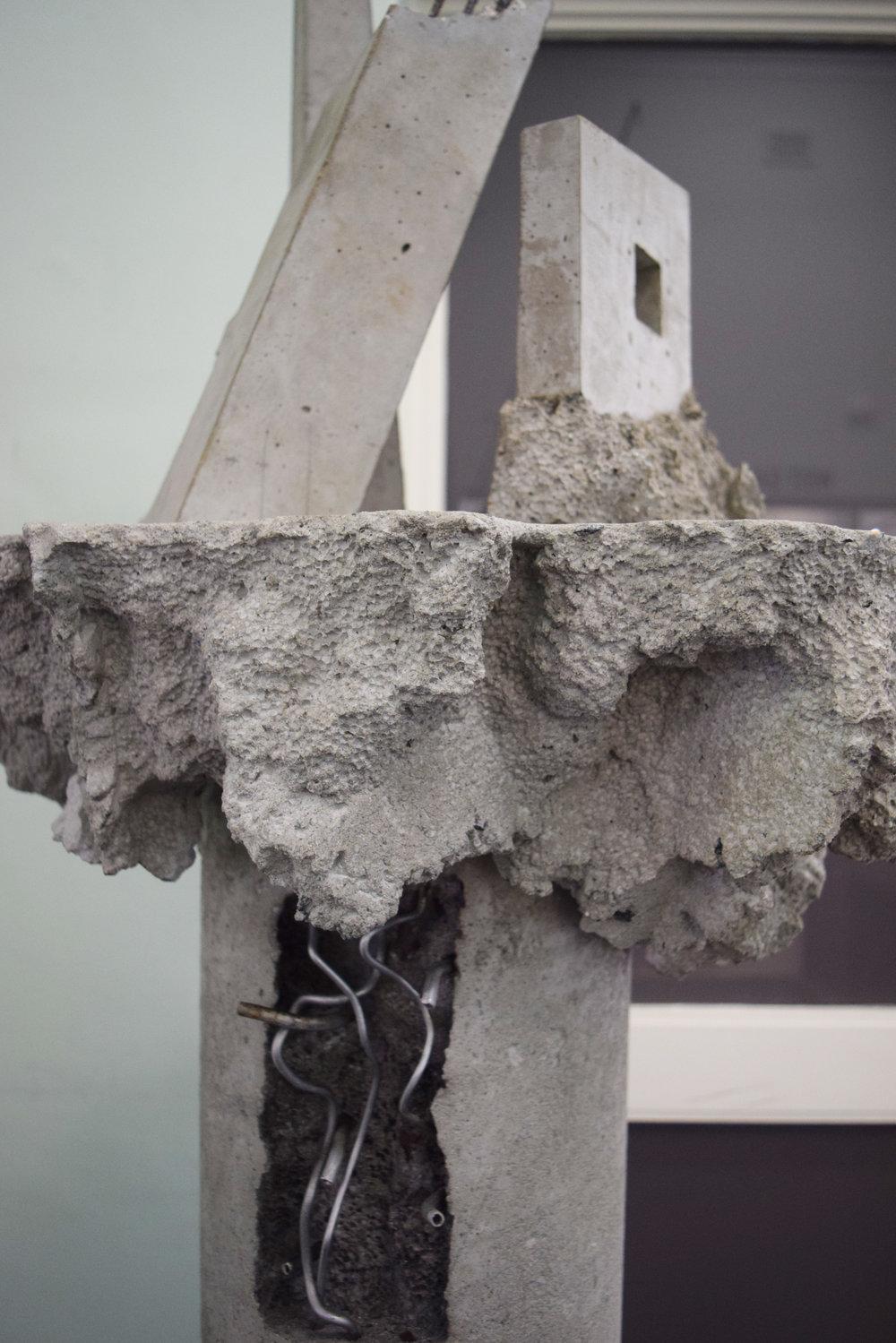 23. Adam Ismail and William Leggett,  Core  (detail) ,  2018, concrete, steel and Aluminium, 50 x 50 x 240 cm $4,000