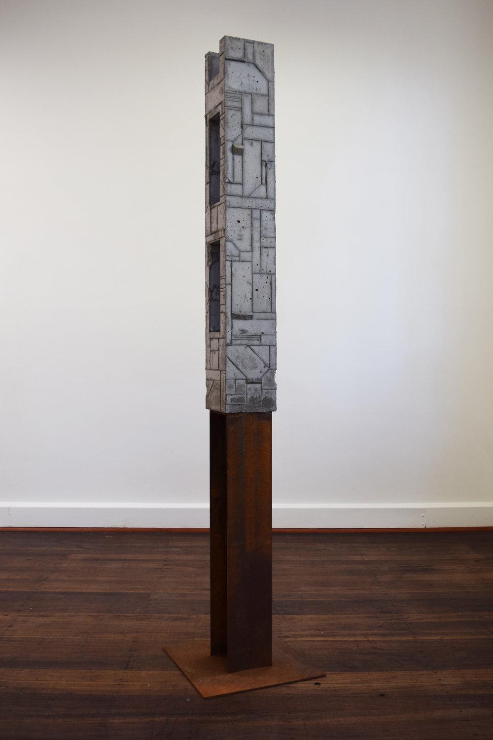 26. William Leggett,  Monument 8,  2018 concrete and steel, 179 x 40 x 87 cm $1,200