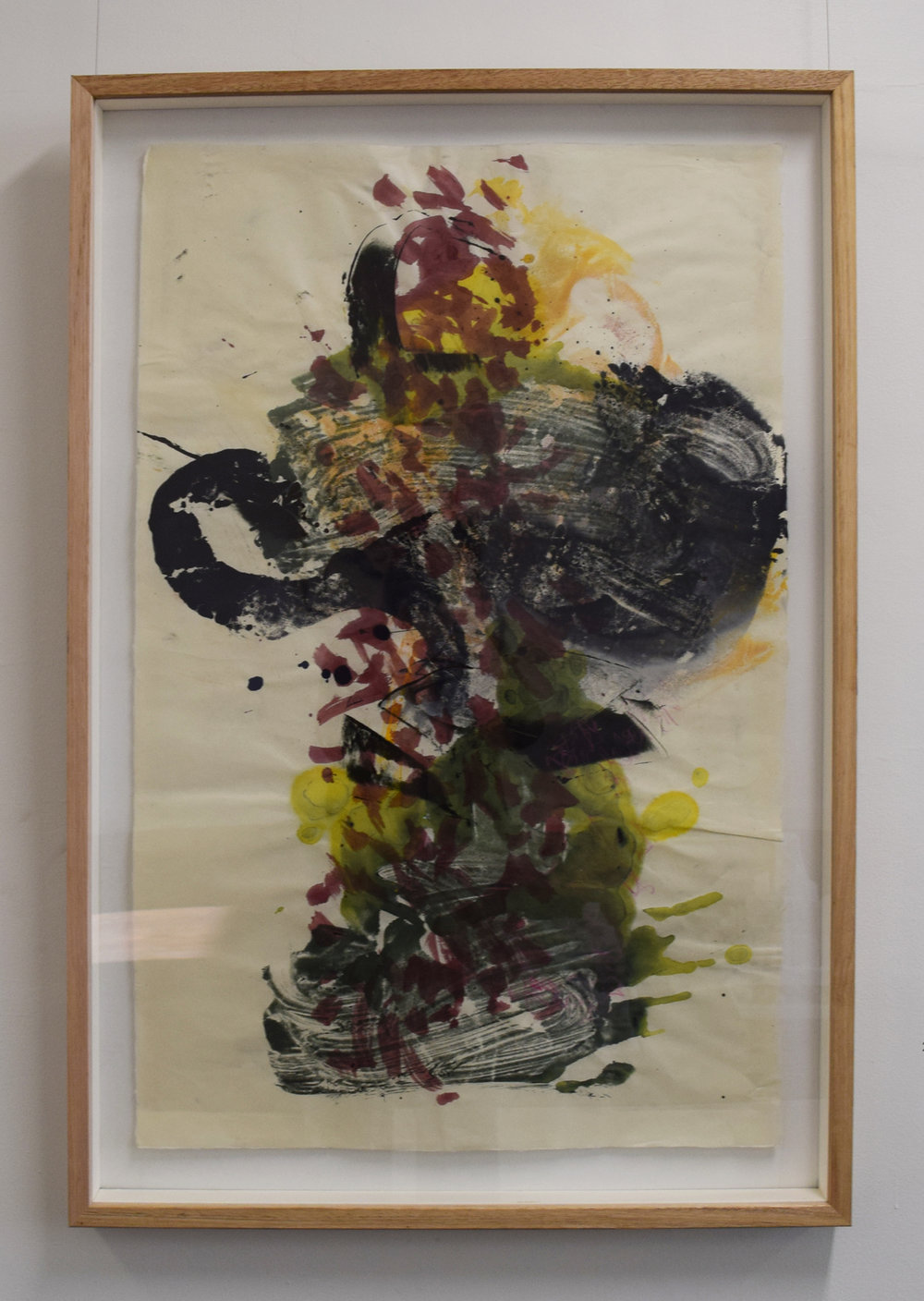 25. Rory Dax Paton,  Faux Grape , 2018, ink monotype, wax pencil, Washi paper, 107 x 72 cm $1,800
