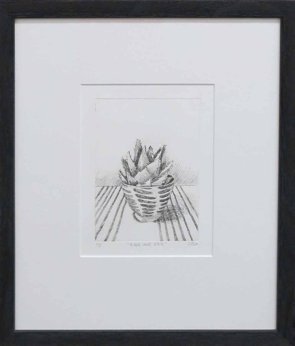 2. Sue Eva, 'Black and White', 2018, Drypoint etching, 15.5 x 11.5cm, $195