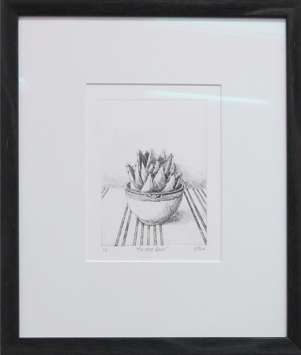 1. Sue Eva, 'The Aloe Bowl', 2018, Drypoint etching, 15.5 x 11.5cm, $195