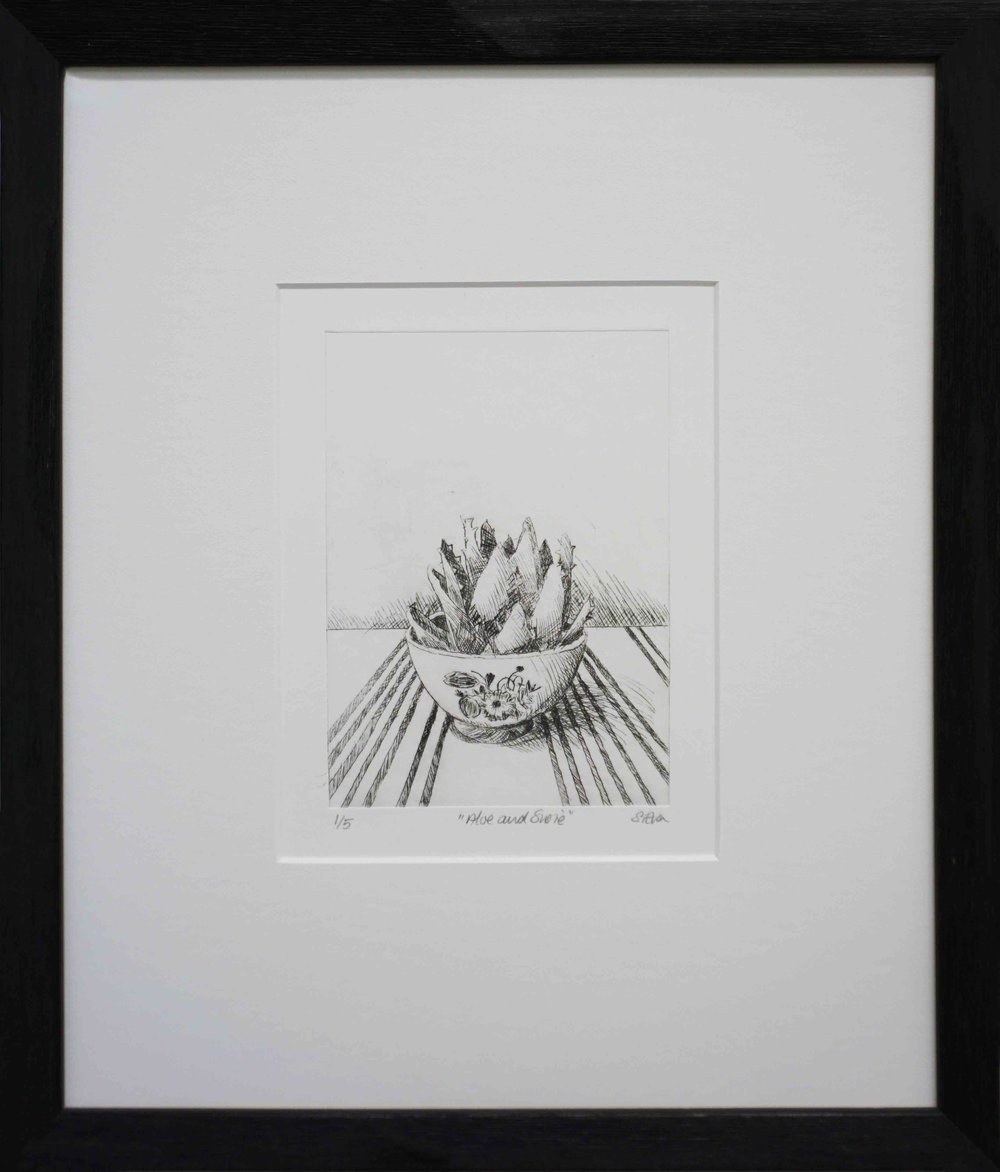 3. Sue Eva, 'Aloe and Susie', 2018, Drypoint etching, 15.5 x 11.5cm, $195