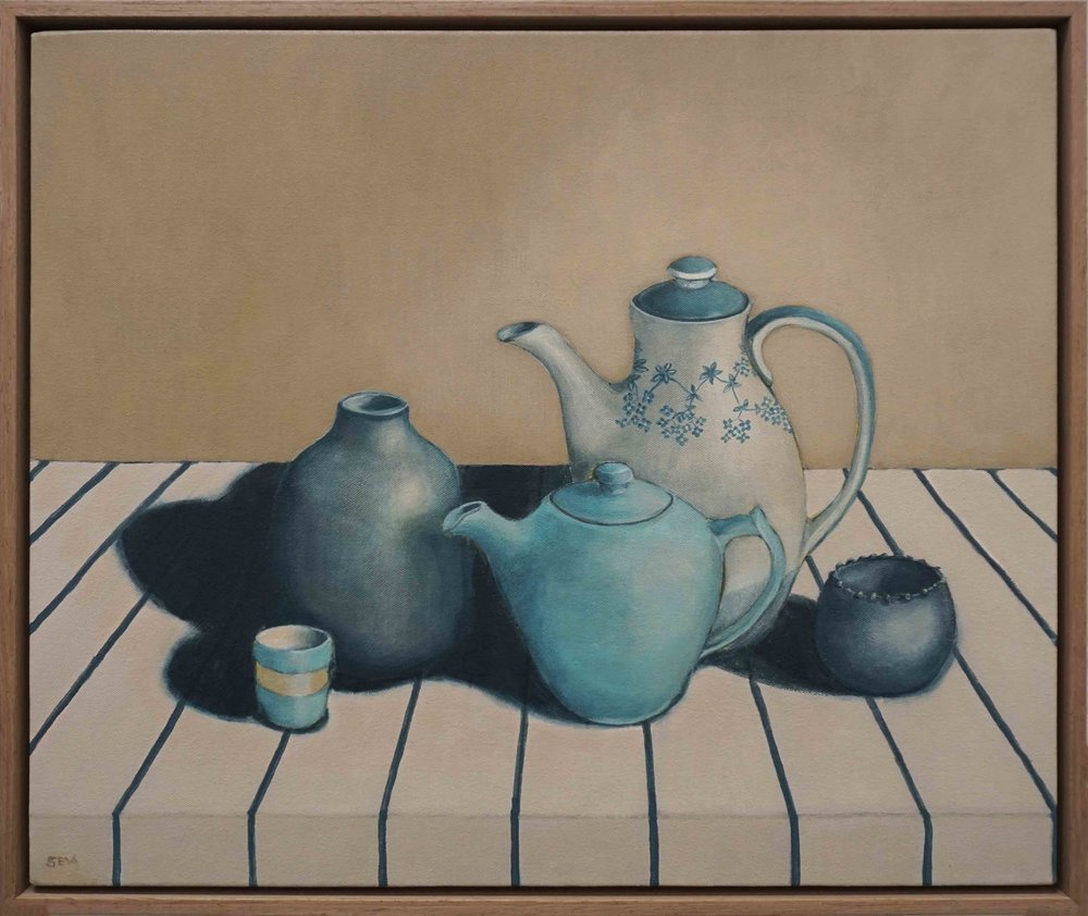 5. Sue Eva, 'Tea with Molly', 2018, Acrylic on canvas, 50 x 62cm, $795