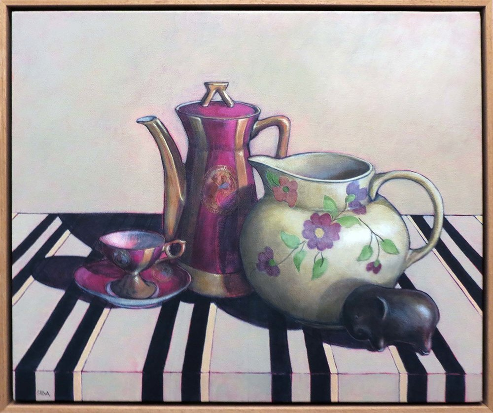10. Sue Eva, 'Tea with Betty', 2018, Acrylic on canvas, 50 x 62cm, $795