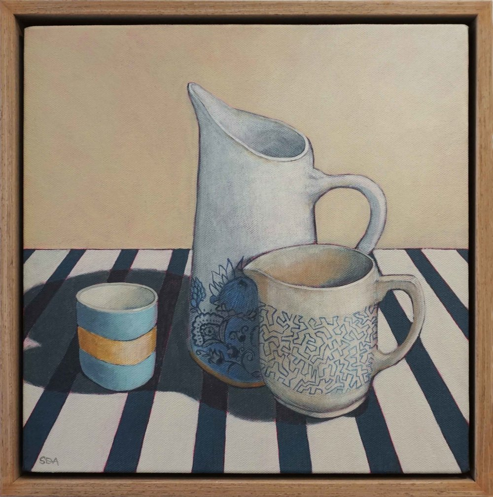 11. Sue Eva, 'The Protea Jug', 2018, Acrylic on canvas, 30 x 30cm, $445