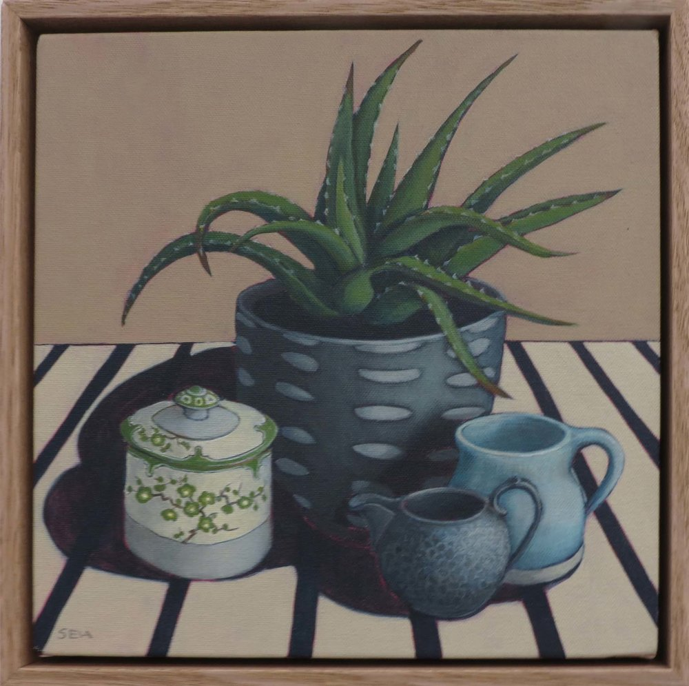 13. Sue Eva, 'Noritake and Pewter Jug', 2018, Acrylic on canvas, 30 x 30cm, $445