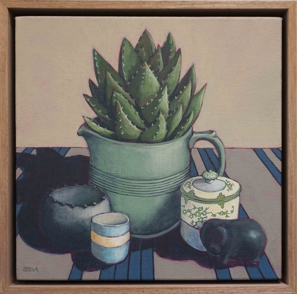 15. Sue Eva, 'The Green Jug with Noritake Sugar', 2018, Acrylic on canvas, 30 x 30cm, $445
