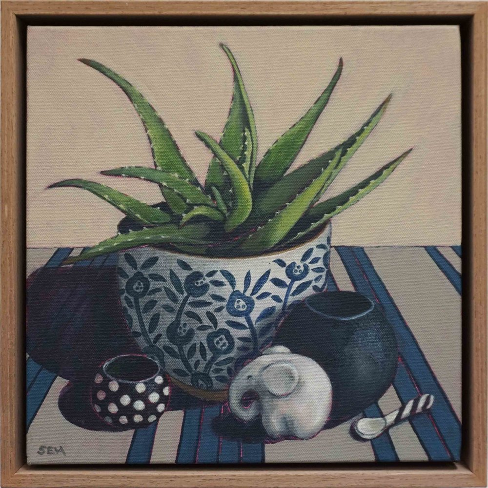 16. Sue Eva, 'Blue and Aloe', 2018, Acrylic on canvas, 30 x 30cm, $445