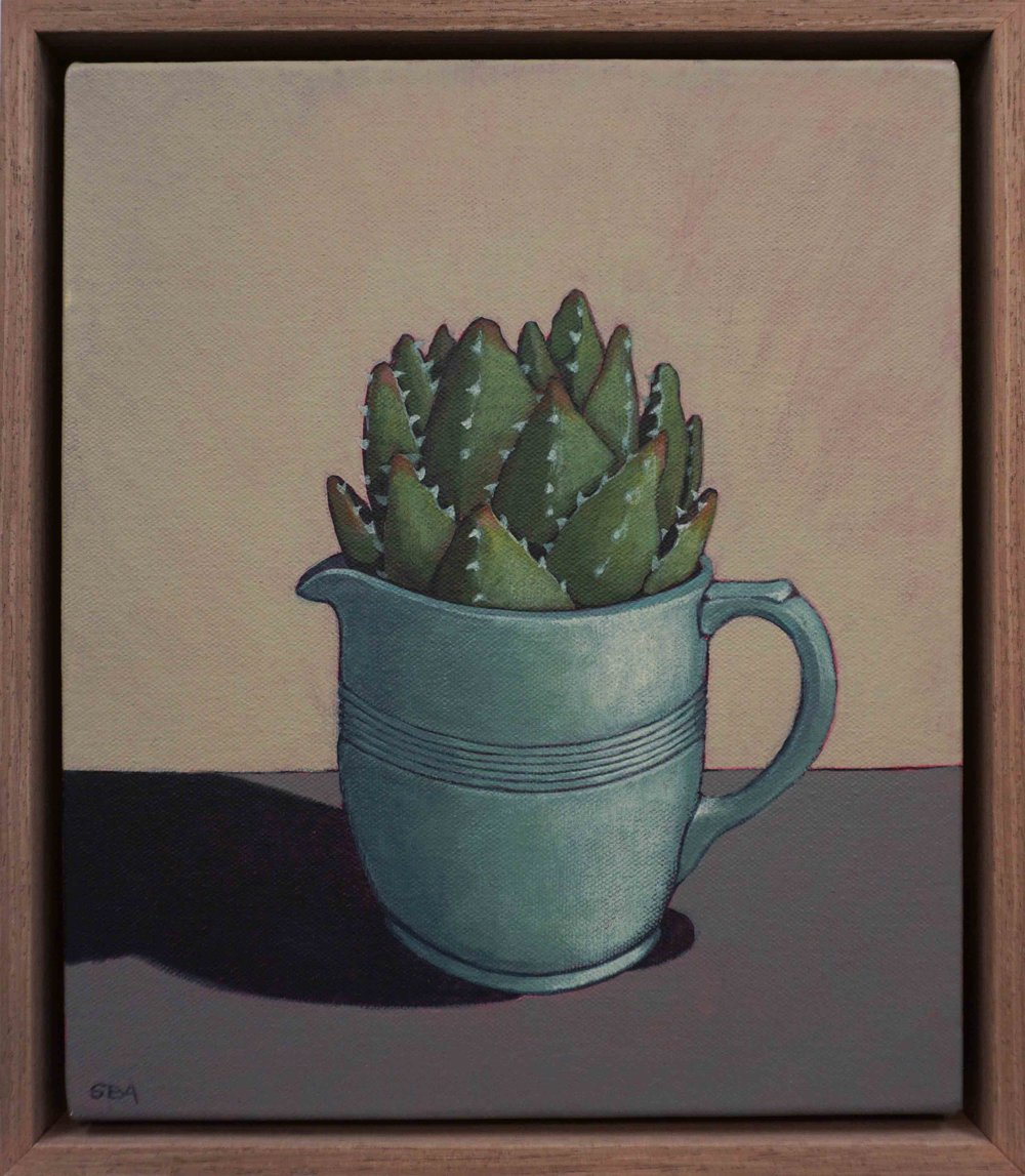 18. Sue Eva, 'The Green Jug and Aloe', 2018, Acrylic on canvas, 30 x 25cm, $345