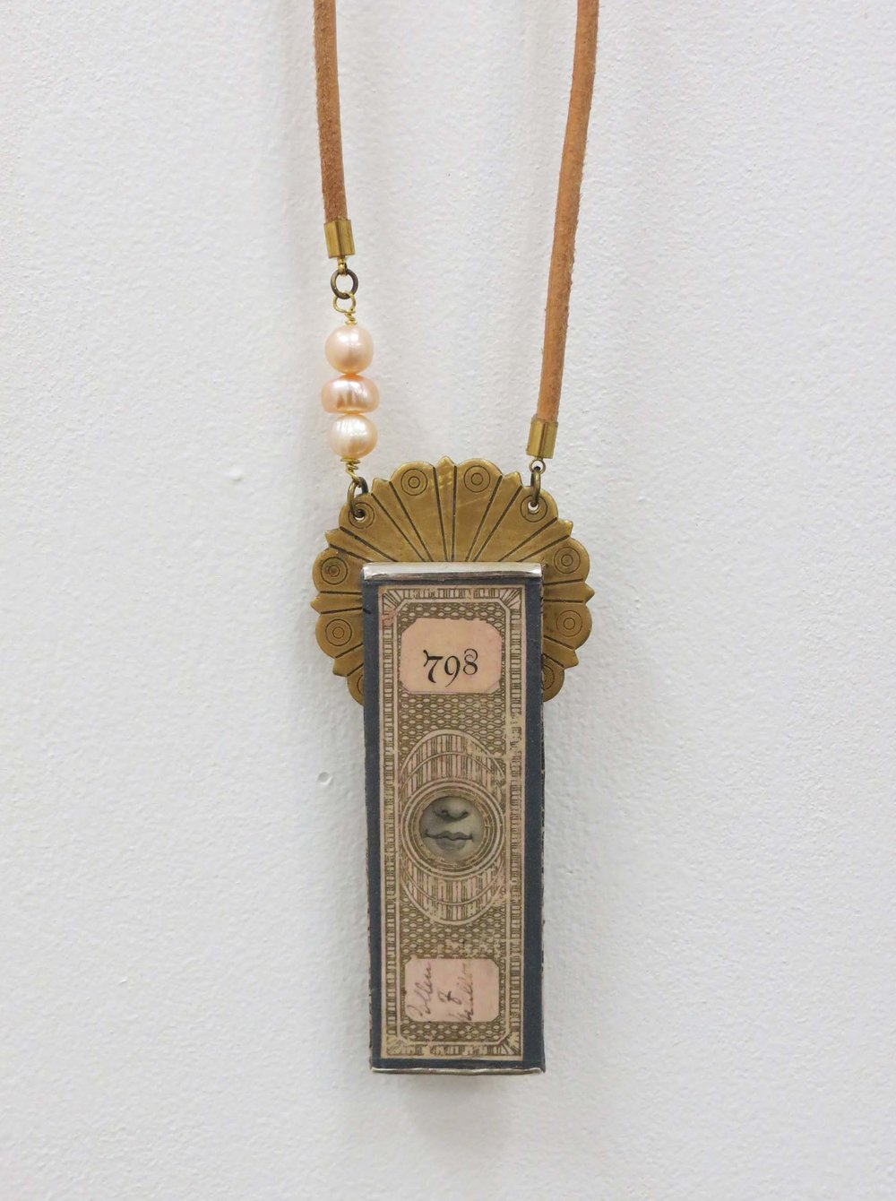 5. Kathy Aspinall, 'Lubrum 798', 2018, Victorian papered slide, brass, antique paper, leather, freshwater pearls, silver, necklace, $495