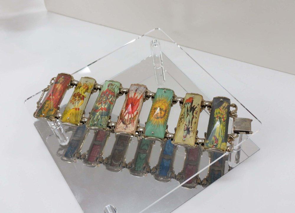 28. Kathy Aspinall, 'Tarot', 2018, 1960's bracelet, tarot card images, resin, bracelet, $320 angle