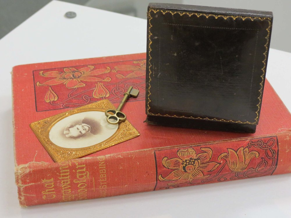 30. Kathy Aspinall, 'Mrs Stewart Dawson', 2012, book, box, enamel on fine silver brooch, key, vintage photograph, altered book, $500