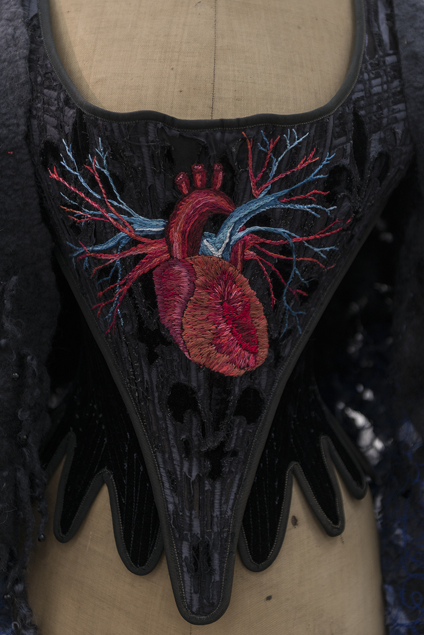 16. Lyndell Darch,  Worn Out Heart,  1994/reworked in 2018 velvet, silk, wool, embroidery thread. NFS.