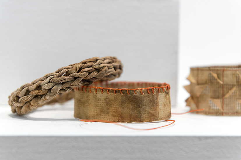 11. Andrea Day,  Bangles 5, 6, 7,  2018, sandpaper, fly screen, wood veneer, beads, waxed linen, cotton, thread, used teabags. $30 each.