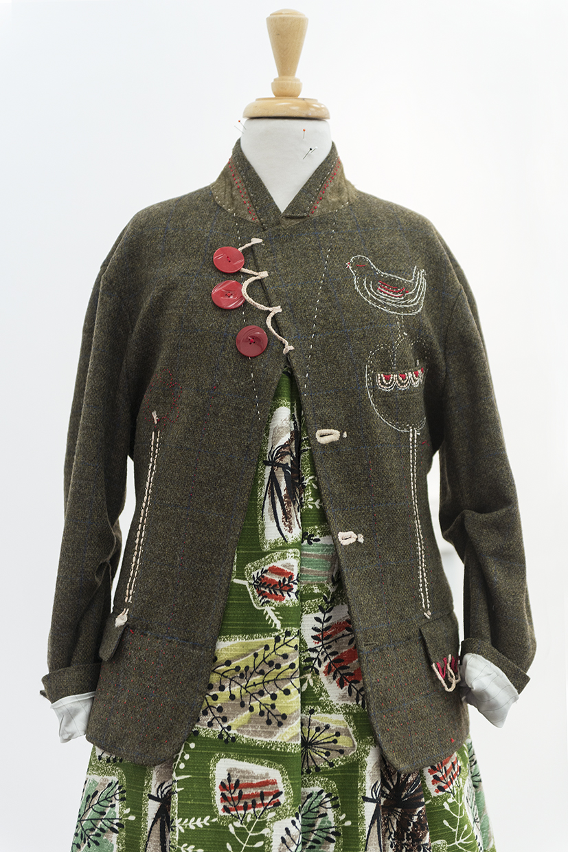 1. Trish Bygott,  Jacket and Skirt , 2018, Op shop jacket, embroidery threads. $1,350 (jacket only, skirt NFS)