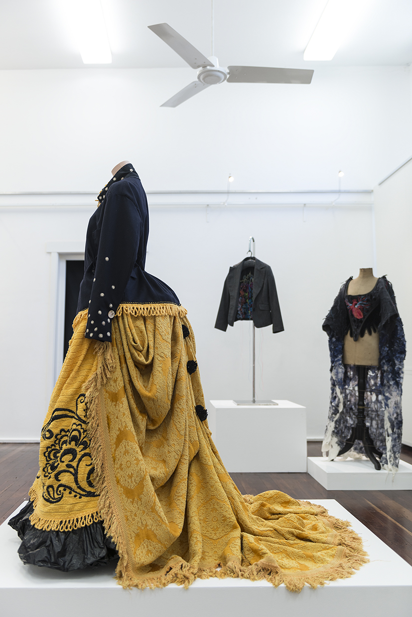 14. Susie Vickery,  Little Worth , 2018, Op shop and discarded bedspreads, jacket, petticoat, stuffed toys, plastic rubbish bags, bubble wrap. $1,200 (excluding jacket)