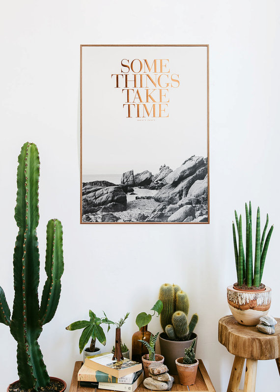 Table full of cacti and little reminders, some things take time.