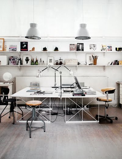 everything about this is the dream. shelving.lighting.desk space.