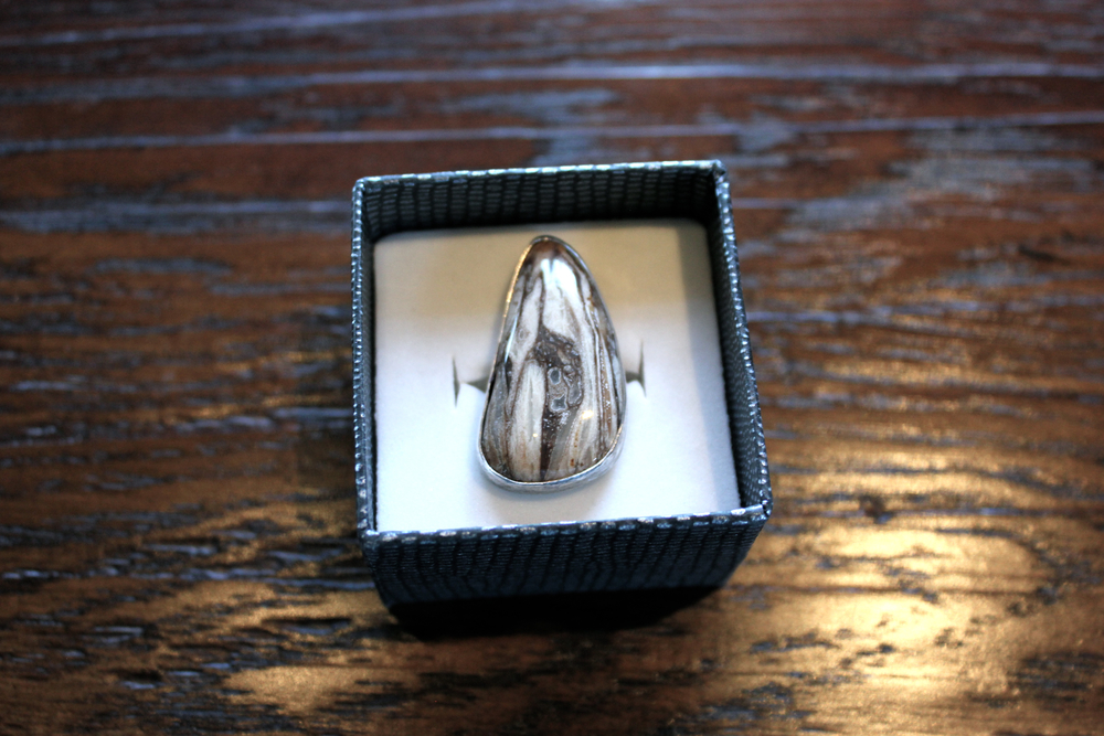 Last weeks petrified wood custom ring