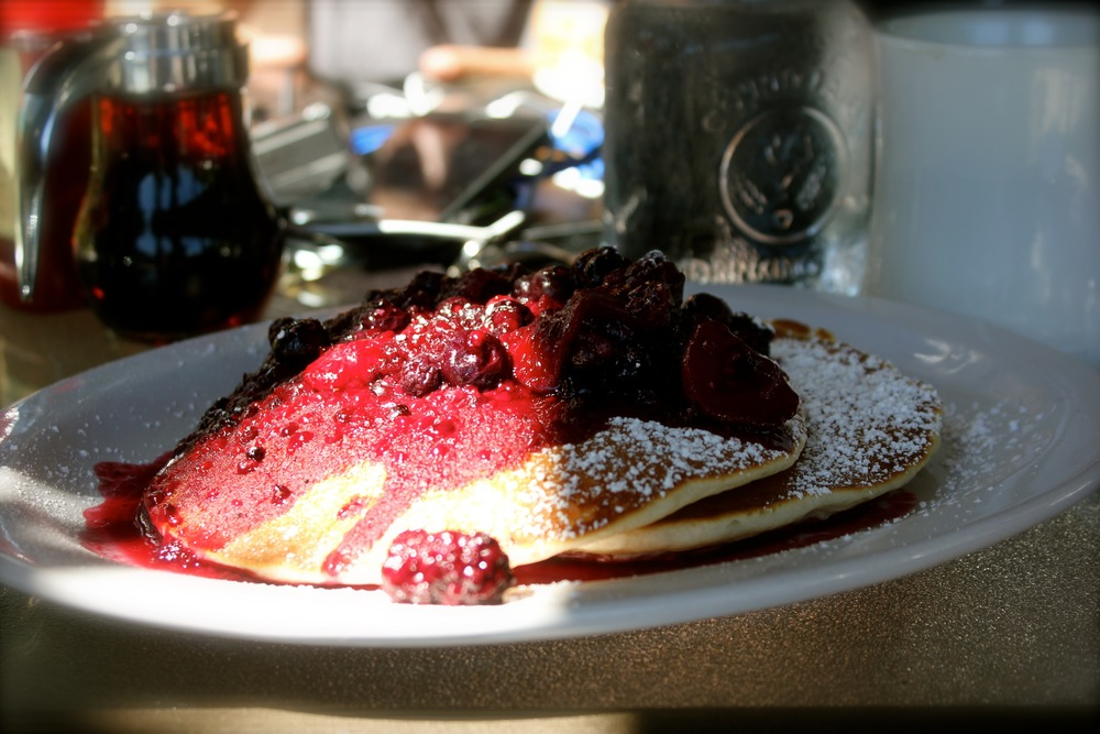 wifi, coffee, and GF berry pancakes - Bunkhouse Cafe - Nehalem, OR