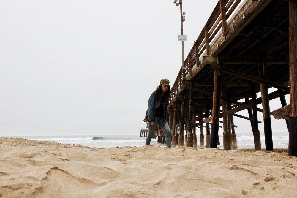 Overcast walks on the bench