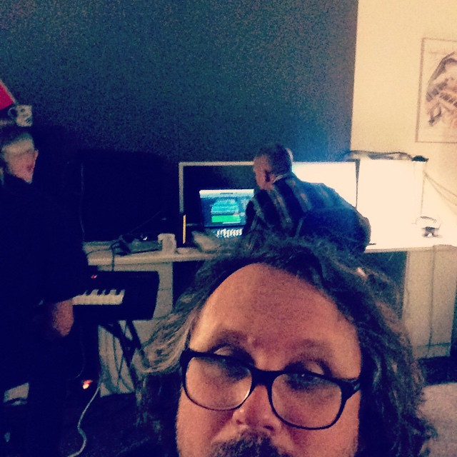 Reidar Larsen , Sverre E. Henriksen and I working on Reidars album