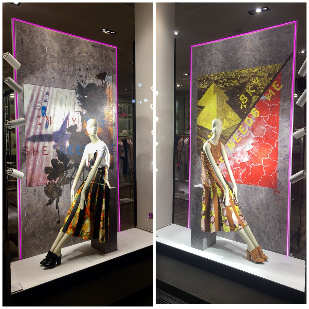 Creative window display for Trussardi SS2018 by the Visual Merchandising team under Maurizio Vasile