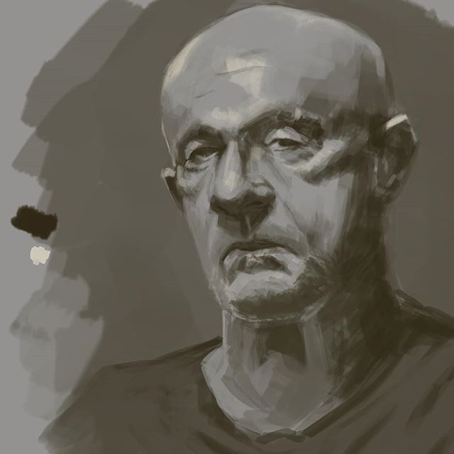 Best jump on this portrait motivation while it lasts... #portrait #digitalpainting #digitalportrait #photoshop #painting #sketch #scribble #doodle #monochrome #breakingbad #bettercallsaul #jonathanbanks #mikeehrmantraut #instaart #art