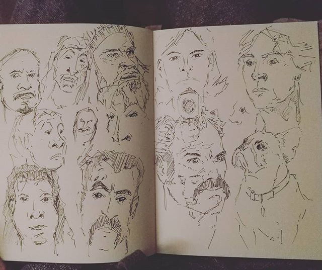 #speedsketching in front of the telly while getting caught up on #thewalkingdead. Plus a #frenchie  #sketch #sketchbook #pensketch #doodle #portraits #scribble #instaart #simon #carol #