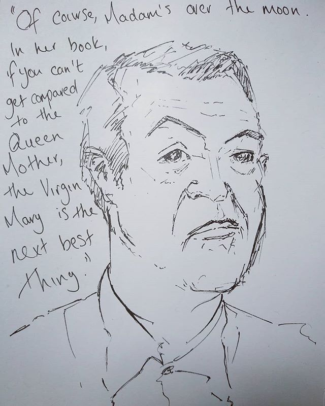 Another #scribble from #TalkingHeads @westyorkshireplayhouse  #AChipInTheSugar #AlanBennet #ChrisChilton #art #pensketch #sketch #sketchbook #instaart #instaartist #portrait #penportrait #quote #Graham #wyp