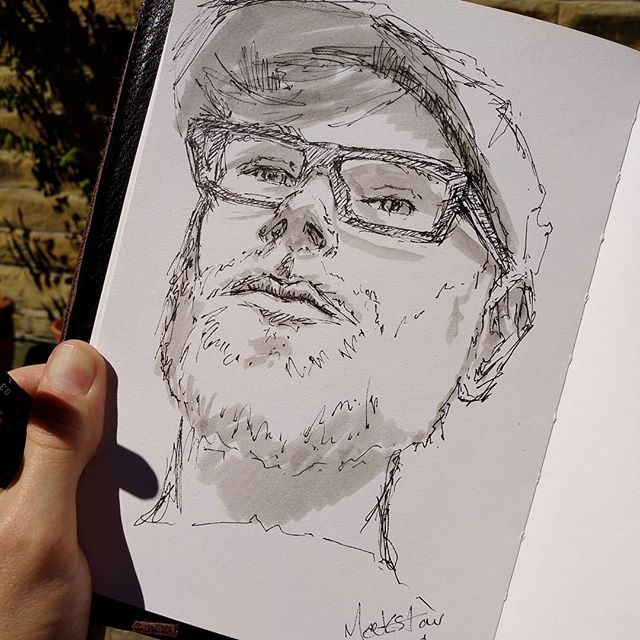 Sketched the the reflection in my phone screen. That's a selfie right?  #sketchbook #sketch #pensketch #enpleinair #doodle #scribble #portrait #selfportrait #selfie #instaart #instaartist #penportrait #portraitart