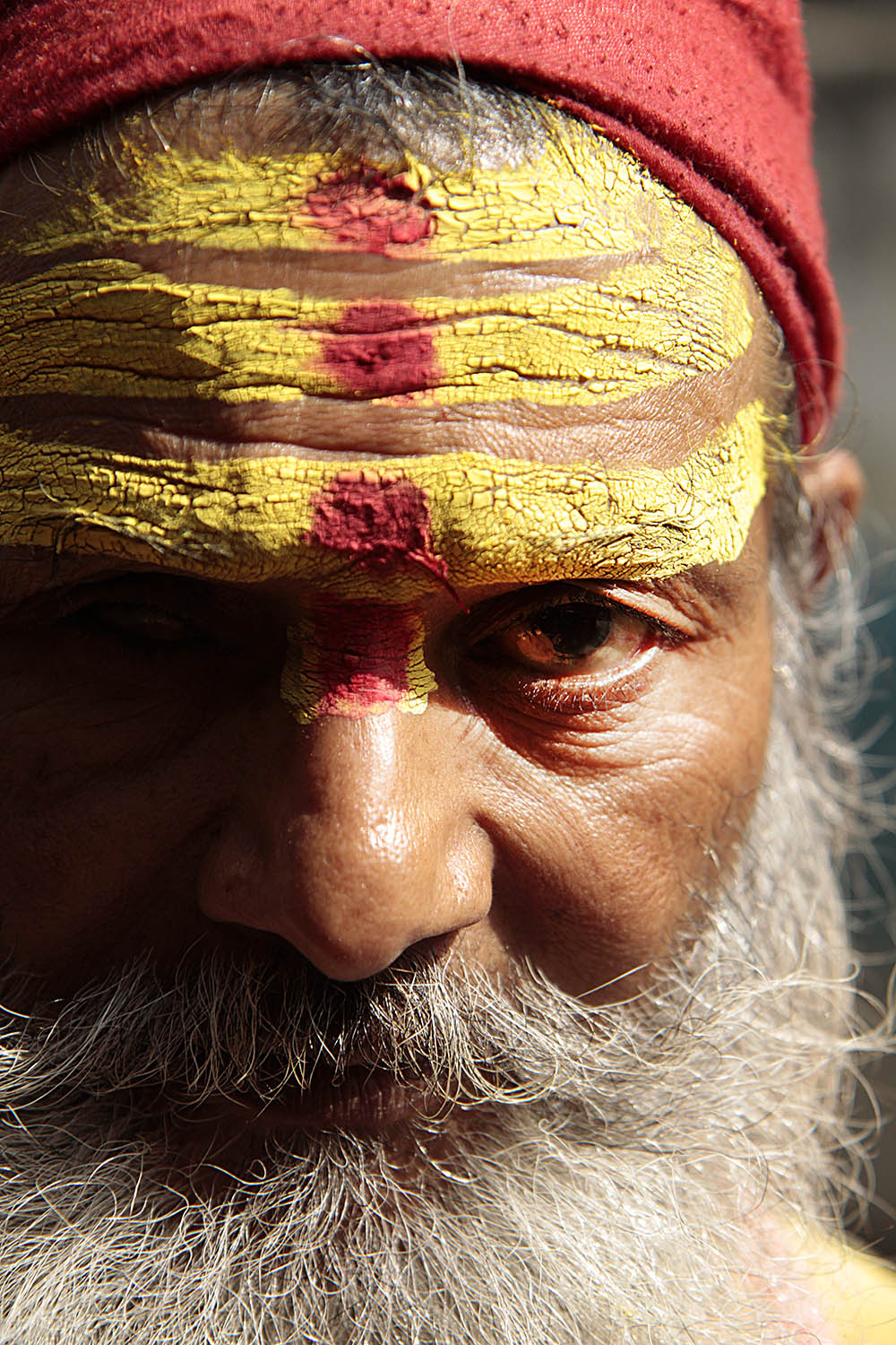 This  sādhu , or holy man, places  tikka , a red spot on the forehead, on people in Kathmandu, Nepal.  Sādhu  live on the edge of society after renouncing material goods.