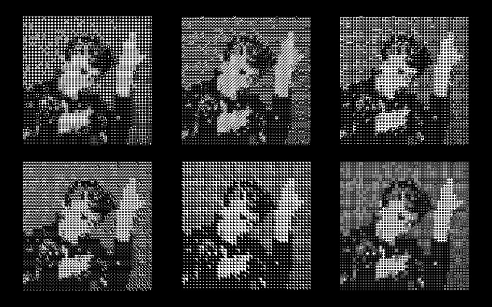 The six versions of image using six different sets of squares. Though the tonality is the same in each set, the differences in processes used to create the squares translate to differences in appearance.