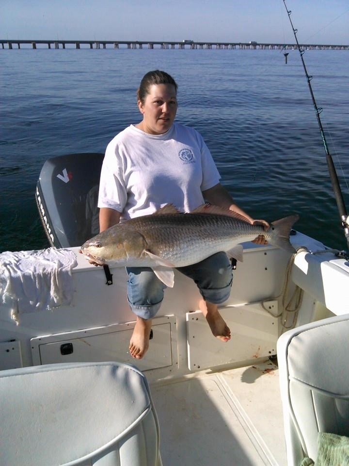 "Nicole Abercrombie caught a 41"" Red Drum!"