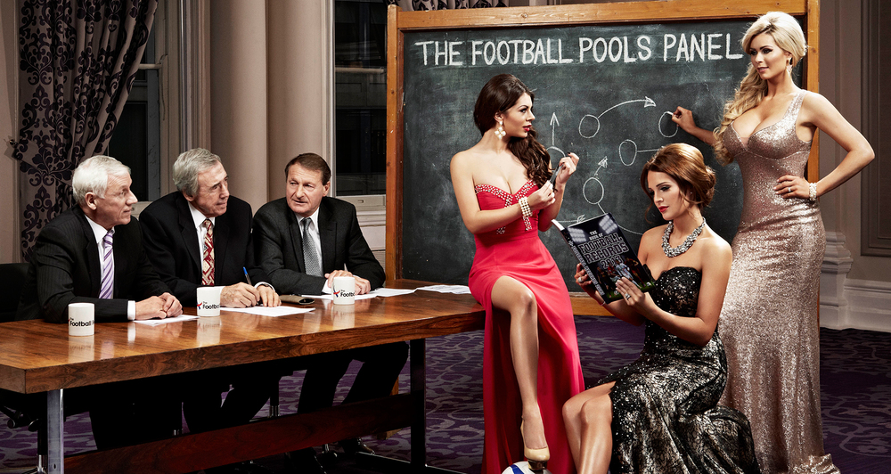 Danielle Lloyd, Nicola McLean shoot for the football pools, football wives style and glamour hair and make up.