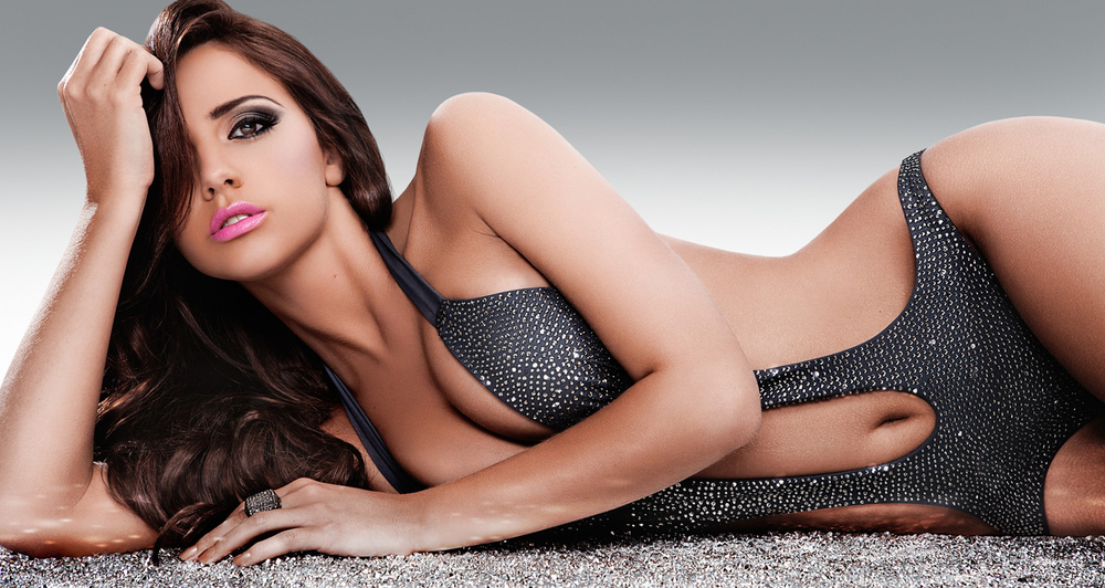 Lucy Meck modelling for a swimwear collection, glamour make up to complement shot in Essex.