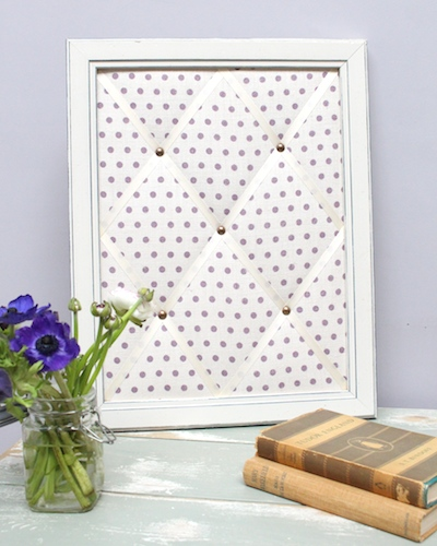 spotty parma violet framed memo board