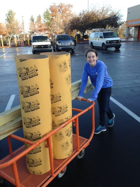 Picked up some cheap labor at Home Depot! Olivia was off this week for Thanksgiving, and gave me a hand hauling materials.