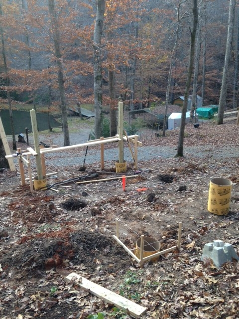 Poured the front two piers. Finally making progress...more than just moving dirt!