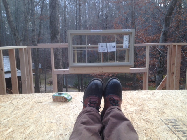 Sitting in the loft. That window was originally going to sit on the top of the framing. As it temporarily sits now, it will actually give a decent view from this position. An hour's work, but worth it.