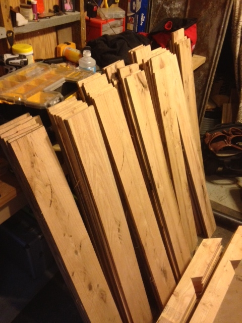 Boards cut down to 1/2 inch, 4 foot sections. I later stacked them to air in the rafters of my shop.