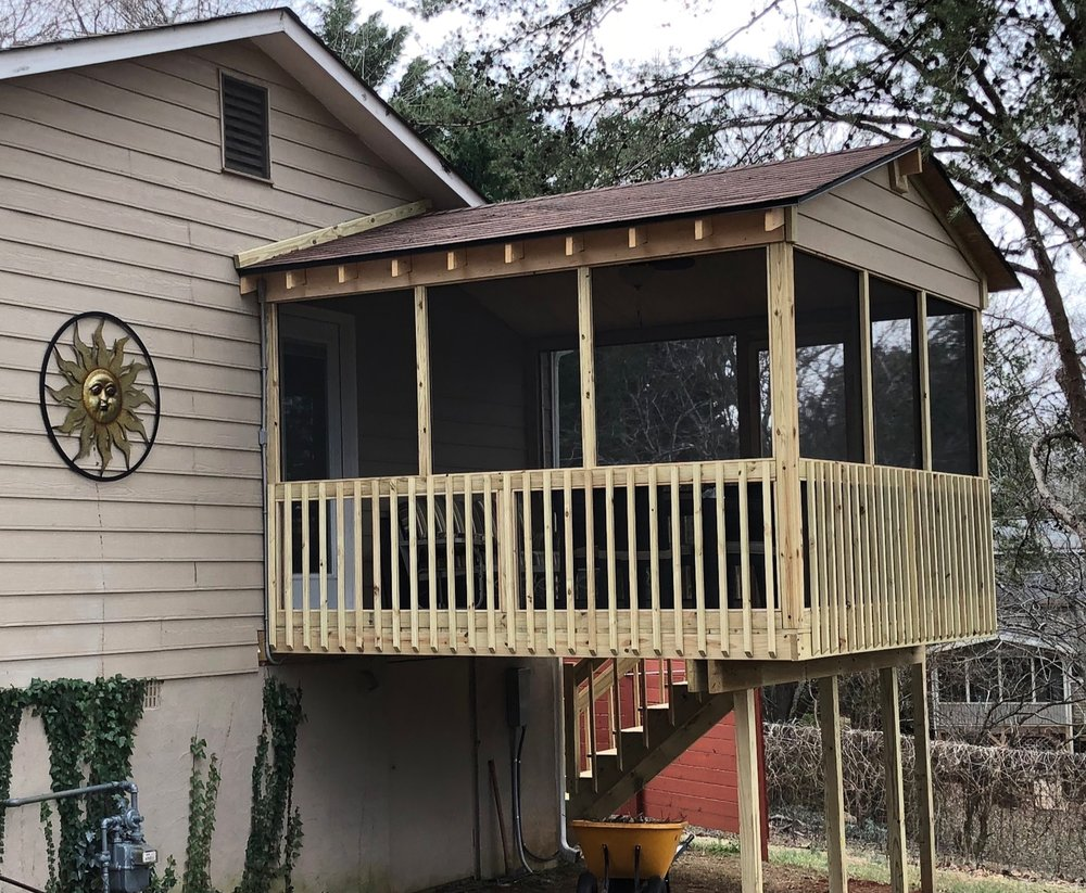 January 2019 - built this screened porch addition off the bedroom of some long-time clients in Dallas, GA.