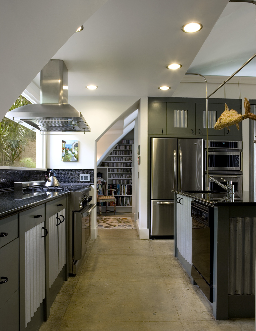 contemporary kitchen with metal cabinets