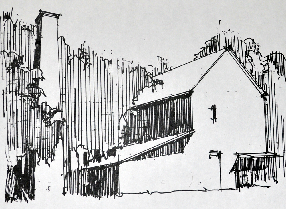 Lowcountry Rice Mill chimney sketch