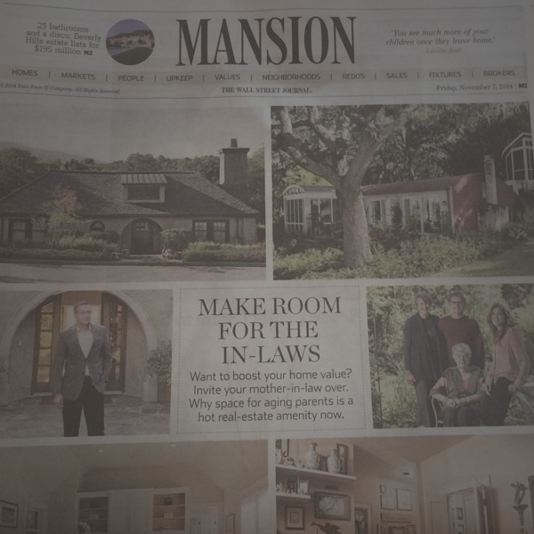 """Make Room for the In-laws,"" The Wall Street Journal, November 7, 2014"