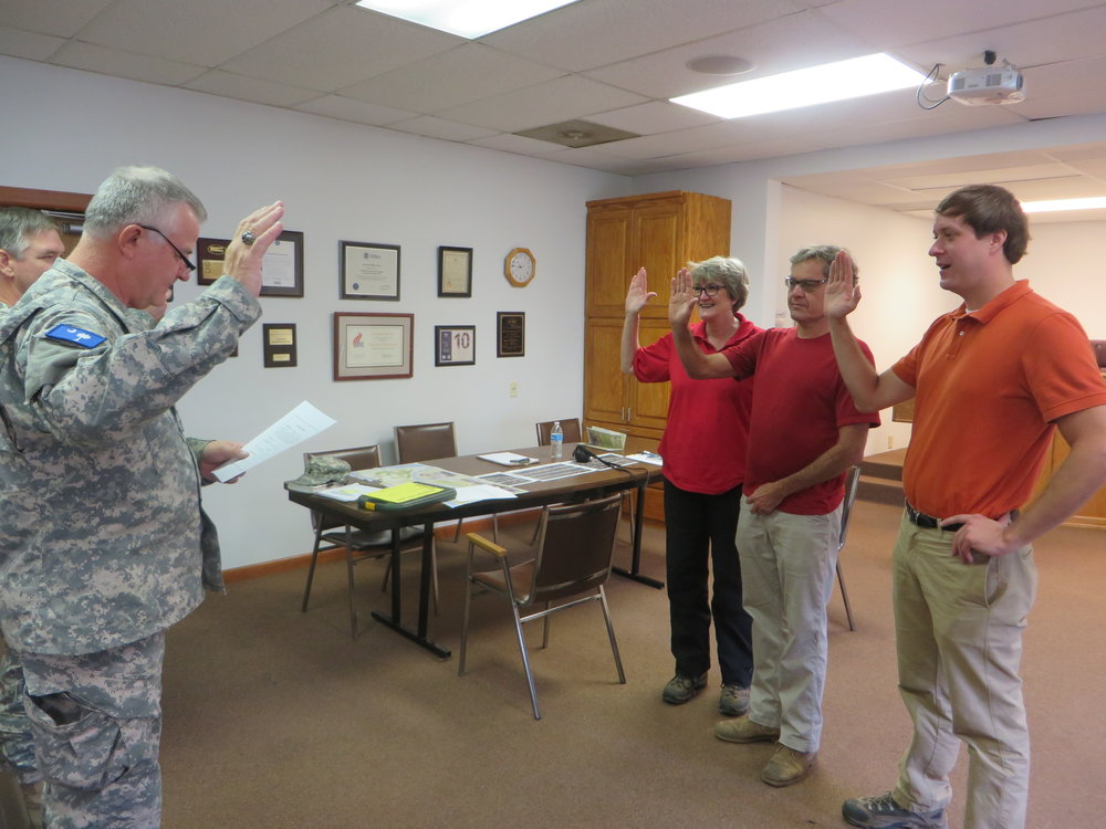 Jane, Michael and Tom are sworn into the South Carolina Guard